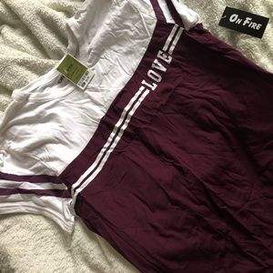 On Fire maroon and white graphic tee from Ross